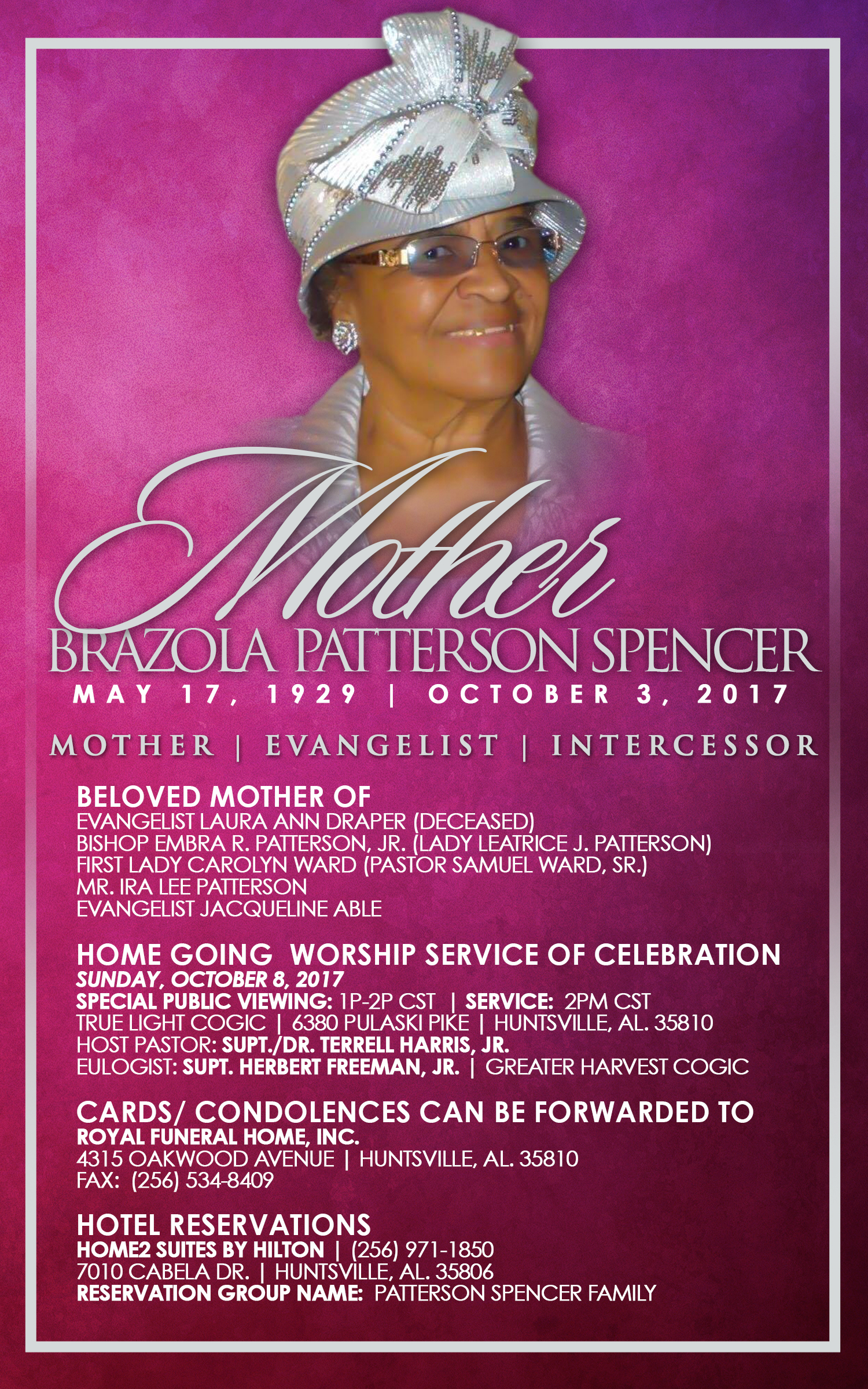 Notice of Transition Mother Brazola Patterson Spencer COGIC