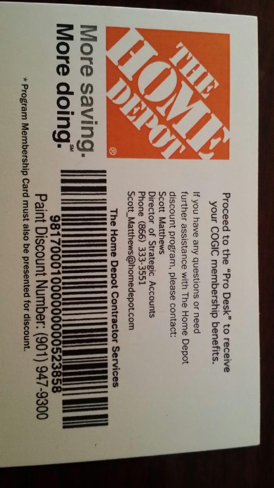 Home Depot COGIC Discount Card